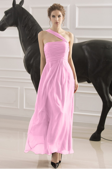 Pink evening dress - Pleated Bustier One-Shoulder Pink Long Formal Dress - L748 #1