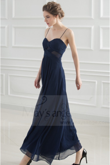 Evening Dress with straps - Elegant Long Midnight Blue Chiffon Evening Gown - L739 #1