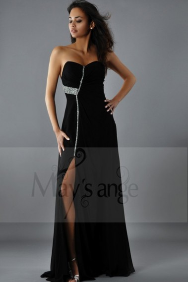 Evening gown dress New York black muslin with strass - L176 #1