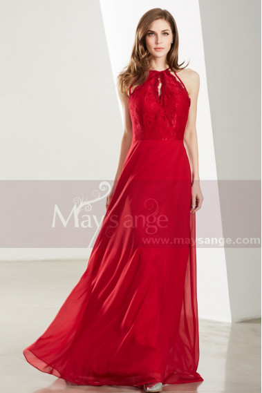 Red evening dress - Halter High-Neck Red Prom Dress With Lace-Bodice - L1922 #1