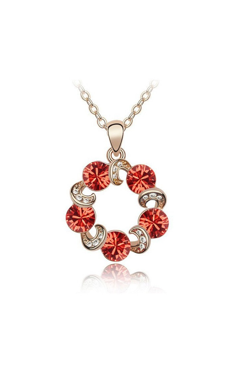 Gold chain sparkling red stone necklace - Ref F019 - 01