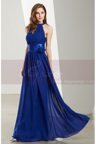 Halter High-Neck Long Blue Formal Evening Gowns - L1923 #1