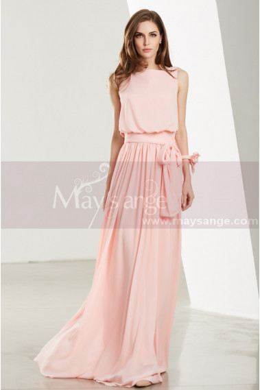 Pink evening dress - A-Line Long Chiffon Prom Dresses With Flower Bracelet - L1910 #1