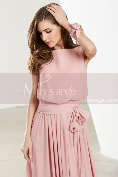 Pink evening dress - Blush Pink Long Chiffon Bridesmaid Dresses With Flower Bracelet - L1908 #1