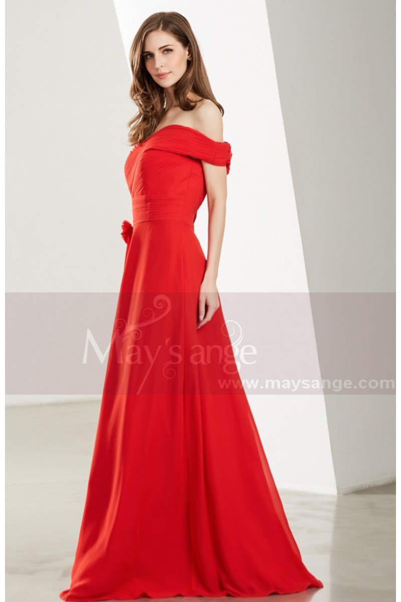 7122a46fb63ae Robe Bustier Rouge Feu Longue A Manches Hors Epaules - Ref L1920 - 01