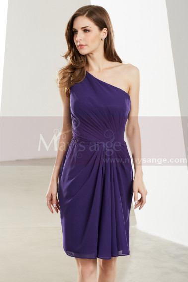One Shoulder Purple Short Graduation Dress