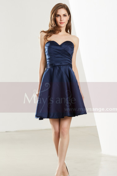 Cheap cocktail dress - Short Sweetheart Strapless Navy Blue Chiffon Graduation Dress - C1912 #1