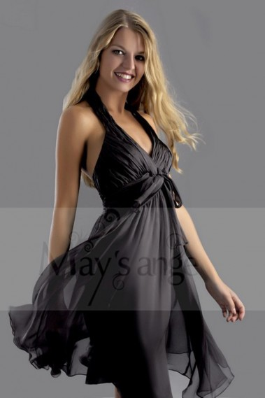 Fluid cocktail dress - V-Neck Short Black Cocktail Party Halter Dress - C156 #1