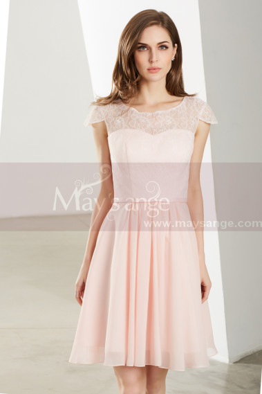 Cheap cocktail dress - Pink Wedding-Guest Short Dress With Sleeves - C1908 #1