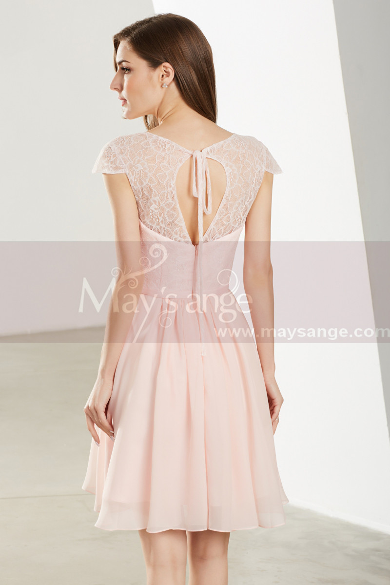 Pink Wedding-Guest Short Dress With Sleeves - Ref C1908 - 01