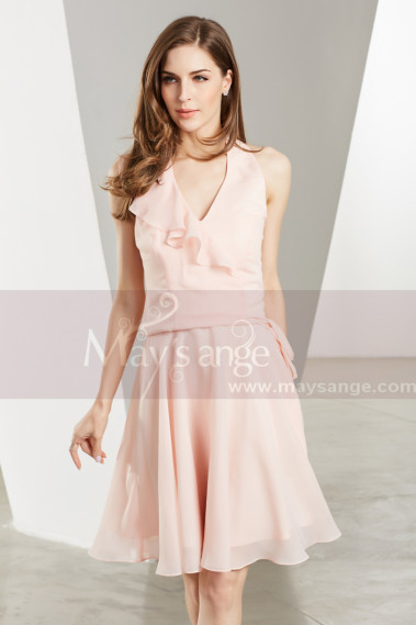 Chiffon Short V-Neck Pink Cocktail Party Dress - C1906 #1
