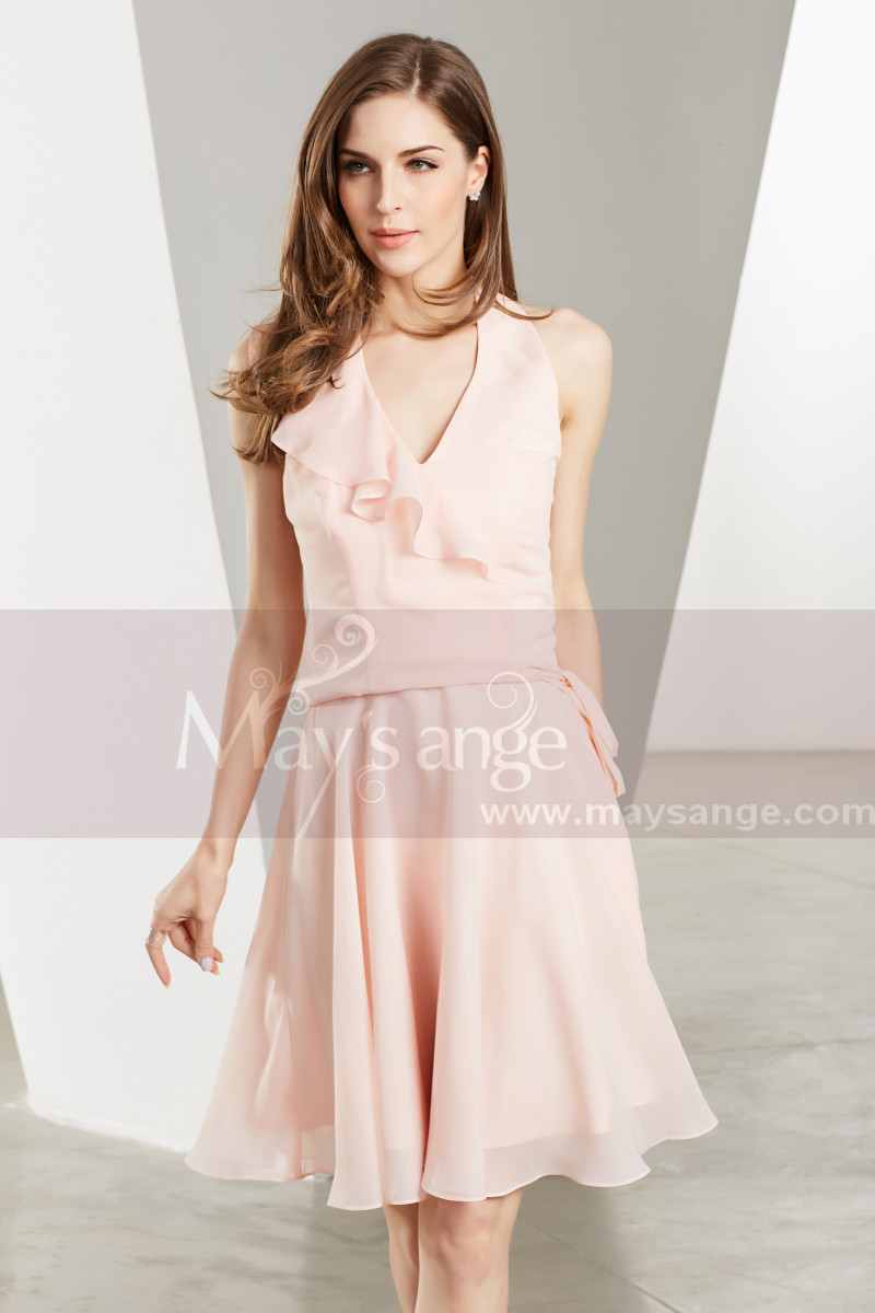 Chiffon Short V-Neck Pink Cocktail Party Dress - Ref C1906 - 01