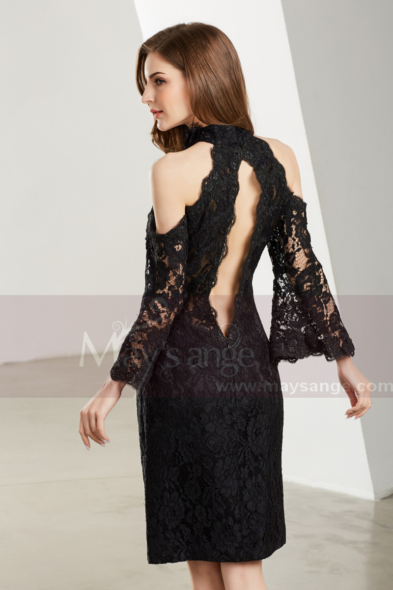 Long Sleeve Open-Back Lace Short Prom Dress - Ref C1907 - 01