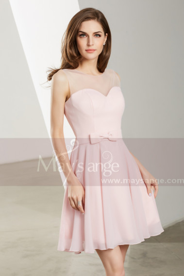 Cheap cocktail dress - Short Sleeveless Pink Chiffon Cocktail Dress - C1901 #1
