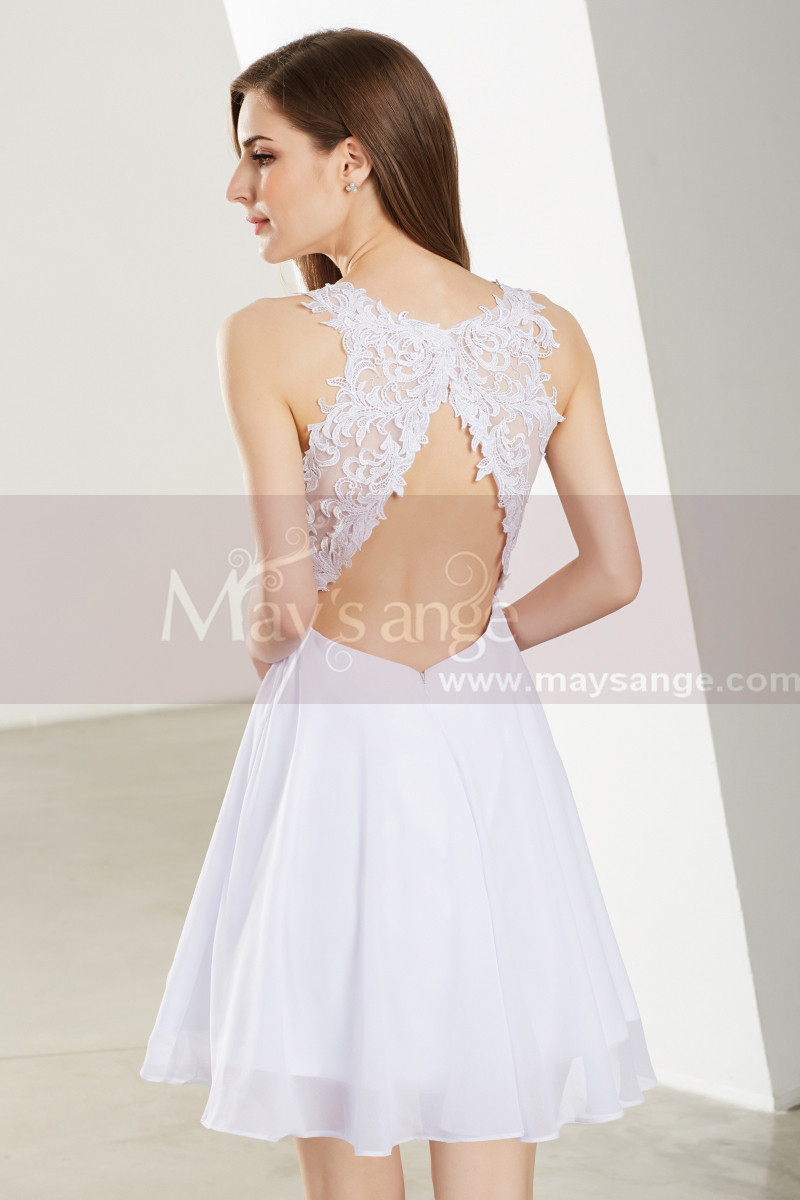 1a4880927b2 Short White Homecoming Dress - Ref C1914 - 01