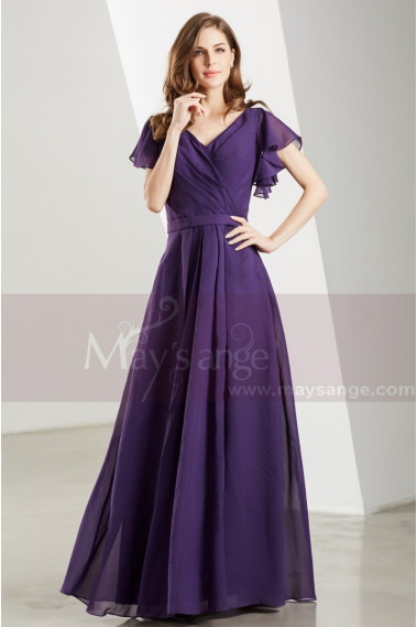 Flutter Sleeves V Neck Long Purple Vintage Dress - L1902 #1