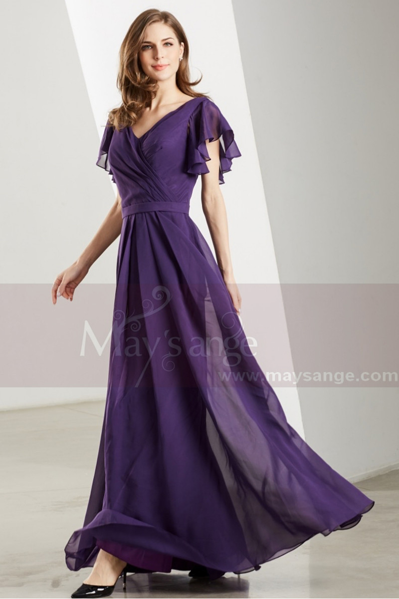 Flutter Sleeves V Neck Long Purple Vintage Dress - Ref L1902 - 01