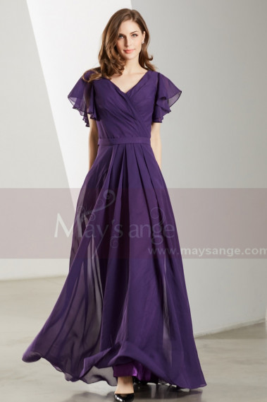 Prom Dresses Collection 2019 - Flutter Sleeves V Neck Long Purple Vintage Dress - L1902 #1