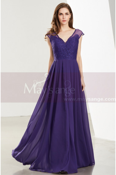 Prom Dresses Collection 2019 - Lace Bodice Sleeveless Long V-Neck Purple Evening Gowns - L1918 #1
