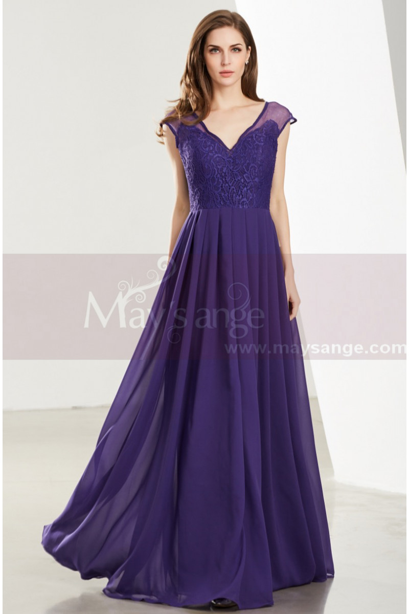 Lace Bodice Sleeveless Long V-Neck Purple Evening Gowns - Ref L1918 - 01