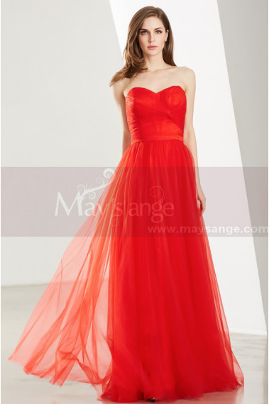 Floor Length Tulle Strapless Sweetheart Red Ball Gown - L1919 #1