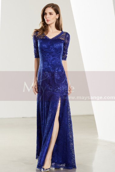 Lace Floor-Length Royal Blue Formal Gown With Side Slit - L1913 #1