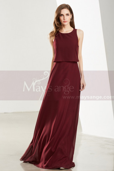 Long Open Back Two Pieces Burgundy Cocktail Dresses - L1917 #1