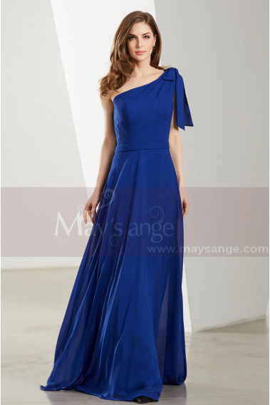 Blue evening dress - One Shoulder Blue Royal Maxi Dress For Prom - L1904 #1