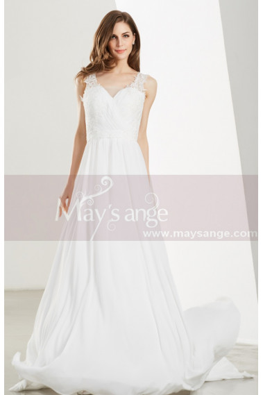 Cheap wedding dresses - White Long Chiffon Evening Prom Dresses - L1903 #1