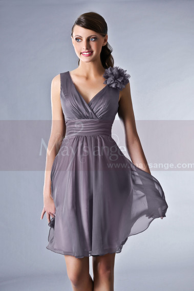 9d382ff3441be Robe de cocktail grise - Robe de cocktail Bourgeoisie - C008  1