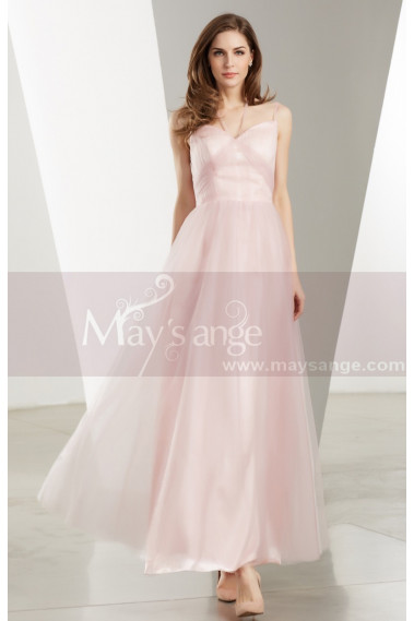 Pink evening dress - Sweetheart Bodice Pink Long Tulle Prom Dress With Straps - L1924 #1