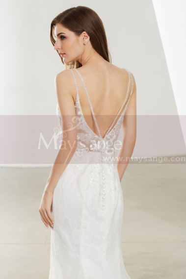 Spaghetti Strap Low Open Back Lace White Mermaid Prom Dress