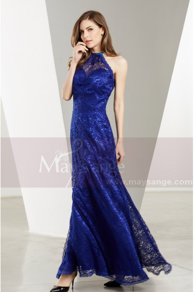 Blue evening dress - Side-Slit Lace Blue Wedding-Guest Dresses - L1905 #1