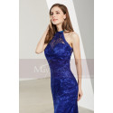 Side-Slit Lace Blue Wedding-Guest Dresses - Ref L1905 - 06