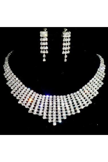 Wedding white crystal pendant necklace - E005 #1