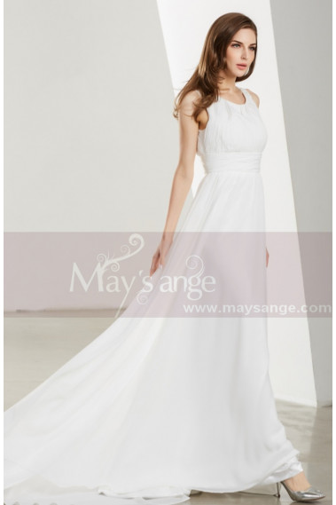 Long Chiffon White Ball Gown Dresses