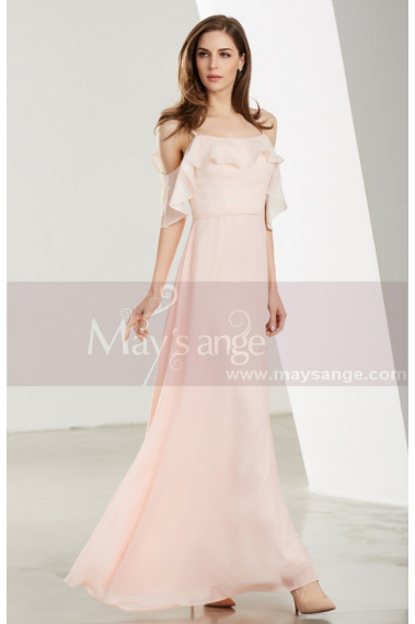 Pink evening dress - Short Sleeve Pink Long Party Dress With Thin Straps - L1907 #1