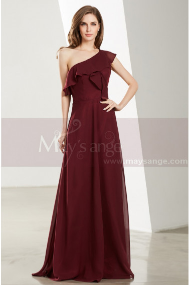 Long Beautiful Burgundy Evening Gowns With One Shoulder - L1911 #1