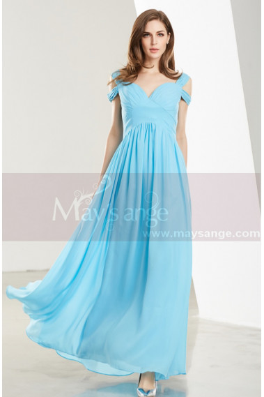 Blue evening dress - Empire-Waist Blue Sky Long Prom Dress with Straps - L1915 #1