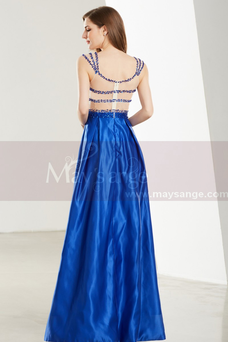 Sleeveless Beaded Strap Royal Blue Satin Prom Dress - Ref L1916 - 01