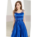 Sleeveless Beaded Strap Royal Blue Satin Prom Dress - Ref L1916 - 04