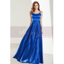Sleeveless Beaded Strap Royal Blue Satin Prom Dress - Ref L1916 - 06