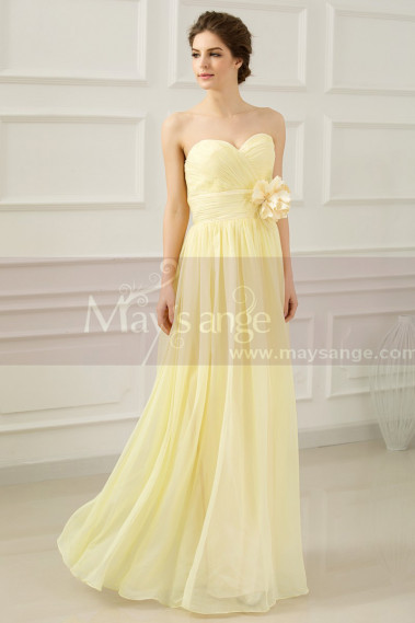 Yellow evening dress - Strapless Long Yellow Dress With Flower On The Waist - L665 #1
