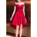 Asymmetrical Raspberry Red Strapless Embroidered Satin Cocktail Dress - Ref C1916 - 02