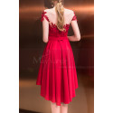 Asymmetrical Raspberry Red Strapless Embroidered Satin Cocktail Dress - Ref C1916 - 03