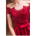 Asymmetrical Raspberry Red Strapless Embroidered Satin Cocktail Dress - Ref C1916 - 07