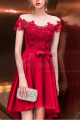 Asymmetrical Raspberry Red Strapless Embroidered Satin Cocktail Dress - Ref C1916 - 04