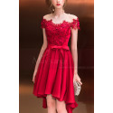 Asymmetrical Raspberry Red Strapless Embroidered Satin Cocktail Dress - Ref C1916 - 05