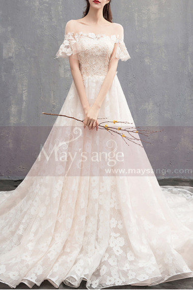 Princess Wedding Dress - Flutter Sleeves Vintage Ivory Boho Wedding Gown With Romantic Train - M1902 #1