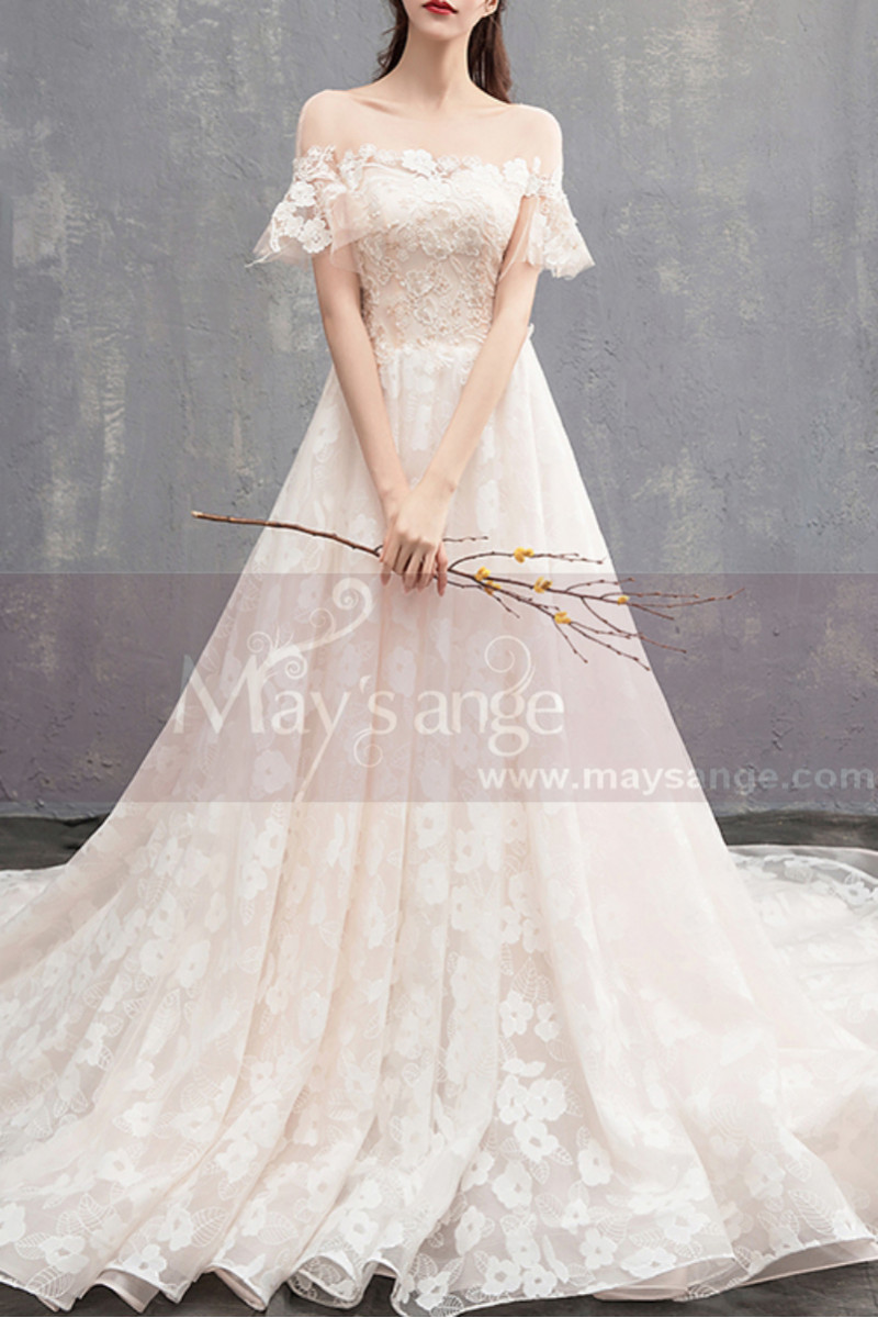 Flutter Sleeves Vintage Ivory Boho Wedding Gown With Romantic Train